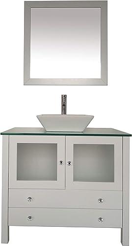 36″ Freestanding Wooden Modern Bathroom Vanity Ceramic Sink Vessel Set Bathroom Mirror Included 36″