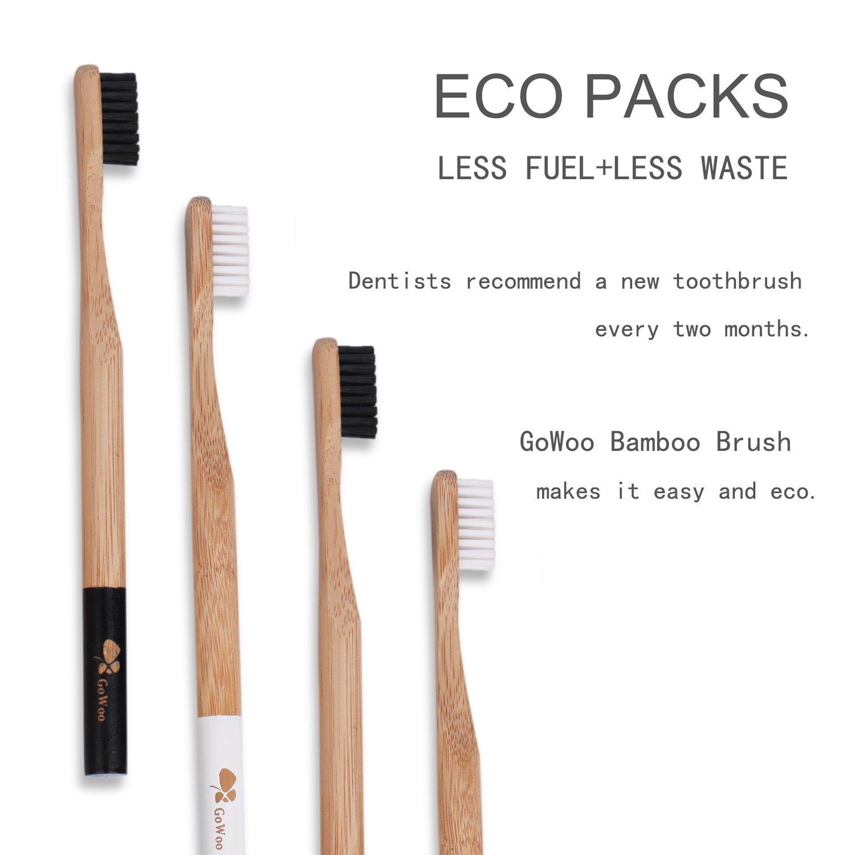 GoWoo - Cepillo de dientes de bambú 100% natural, suave ...