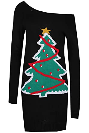 bed76d8a060 Womens Christmas Tree Off The Shoulder Long Sleeves Knit Jumper Dress   Amazon.co.uk  Clothing