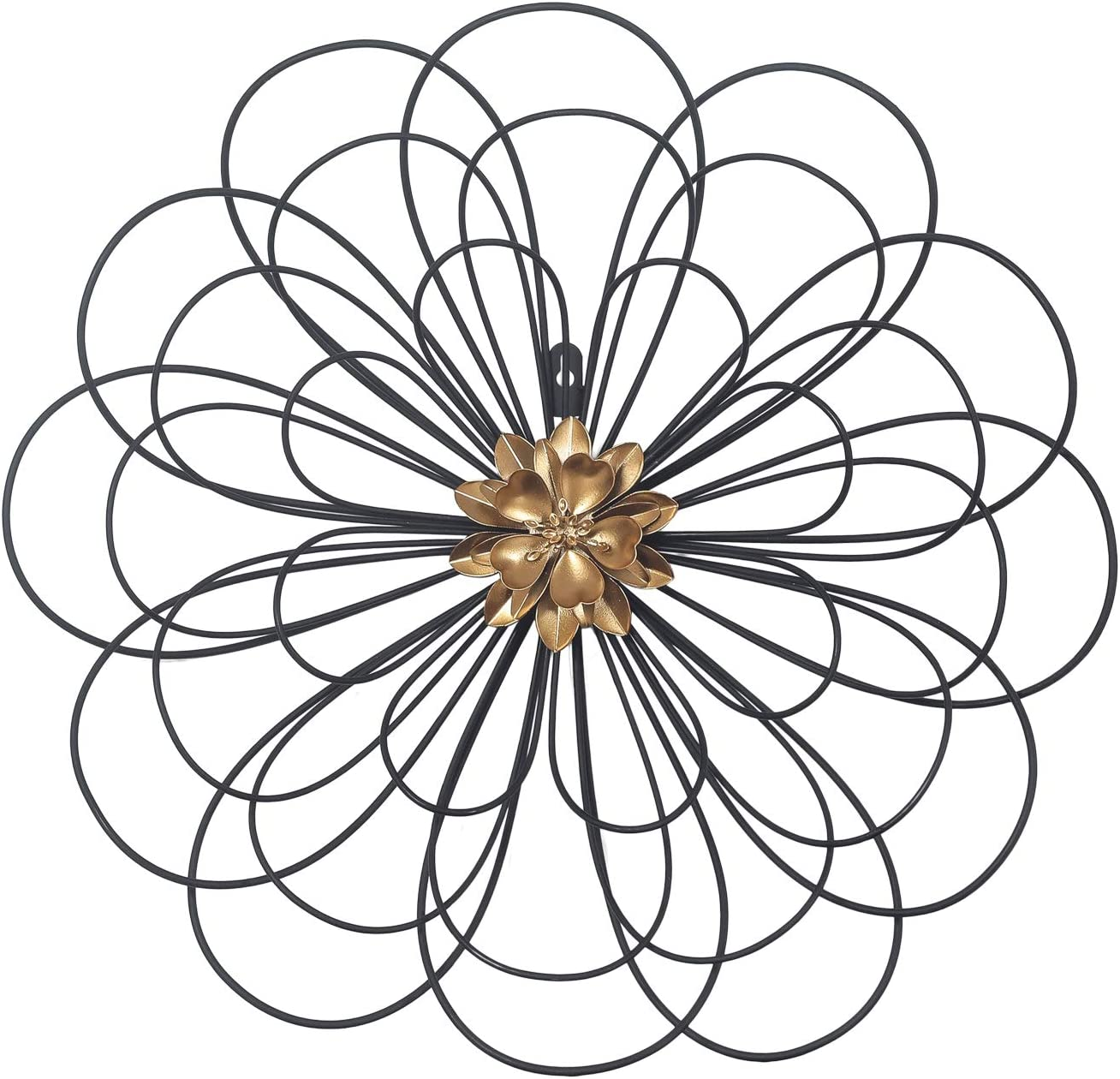 Adeco Black Wire Metal Flower Wall Decor, Home Accent Wall Hanging Art for Nature Home Art Decoration & Kitchen Gifts