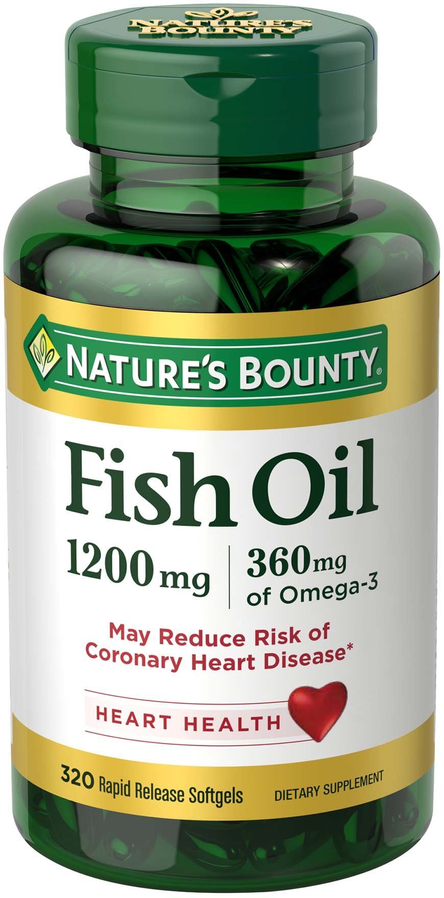 Nature's Bounty Omega-3 Fish Oil 1200 mg Softgels 320 ea by Nature's Bounty