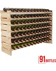 SUNCOO Casier à Vin Étagère en Bouteilles de Vin 7 Etages de 13 Bouteilles pour 91 Bouteilles en Bois