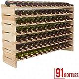 Mecor Wine Rack Wood, Modular Stackable Storage 91 Bottle Display Capacity Shelves, Wobble-Free