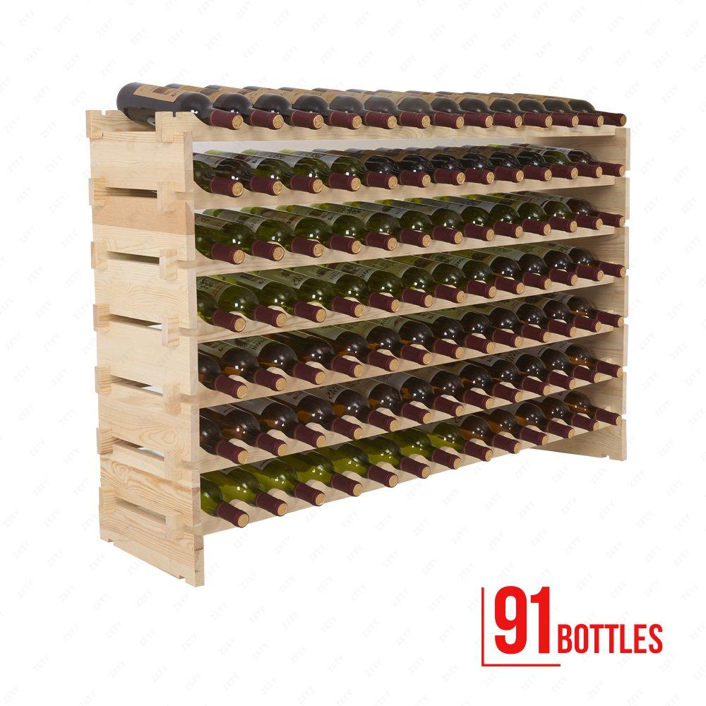 Mecor Wine Rack Wood,Modular Stackable Storage 91 Bottle Display Capacity Shelves, Wobble-Free 4 Family