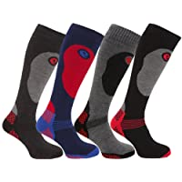 4 Pairs of Mens High Performance Thermal Ski Socks / UK 6-11 Eur 39-45