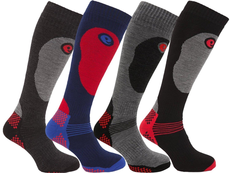 4 Pairs of Mens High Performance Thermal Ski Socks / UK 6-11 Eur 39-45