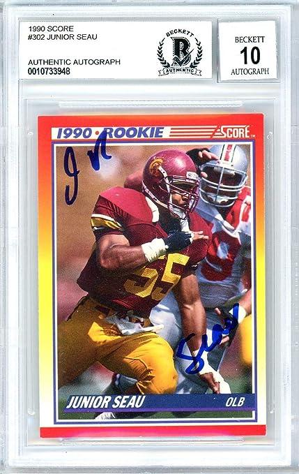 0fc02d6c Junior Seau Autographed 1990 Score Rookie Card #302 San Diego ...