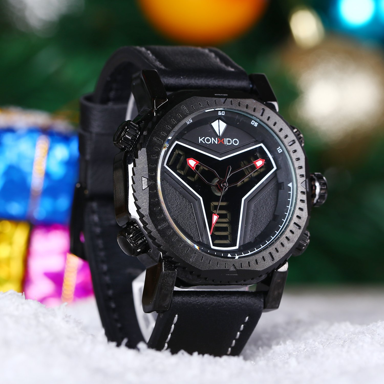 Amazon.com: KONXIDO Mens Big Face Sports Watch for Men Military Multifunction Analog-Digital Display Waterproof Wristwatch Outdoor Classic LED Quartz ...