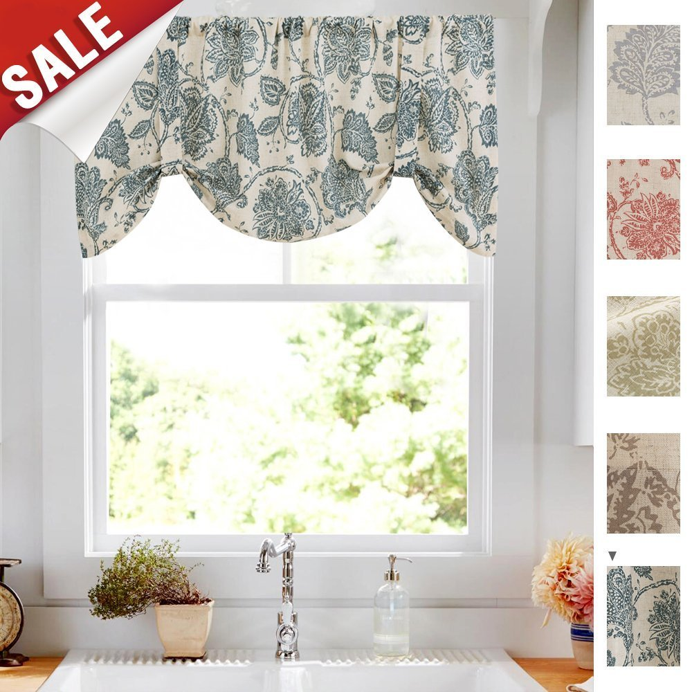 Tie Up Valances for Kitchen Windows Jacobean Floral Printed Tie-up Valance Curtains Rod Pocket Adjustable Rustic Linen Textured Tie-up Shade for Small Windows 18 Inches Long (1 Panel, Teal)