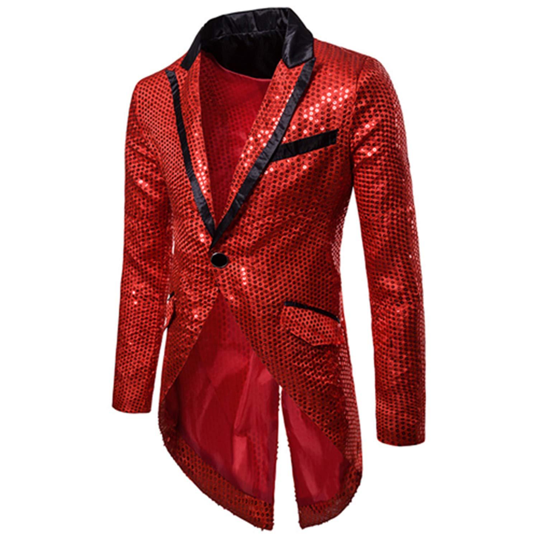 Shiny Gold Sequin Glitter Embellished Blazer Jacket Men Prom Suit Blazer at Amazon Mens Clothing store: