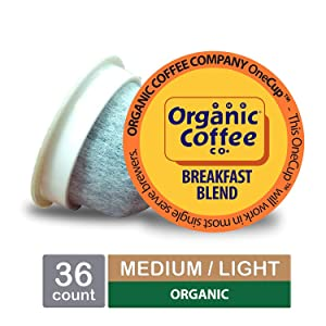 The Organic Coffee Co. OneCup, Breakfast Blend, Single Serve Coffee K-Cup Pods (36 Count), Keurig Compatible