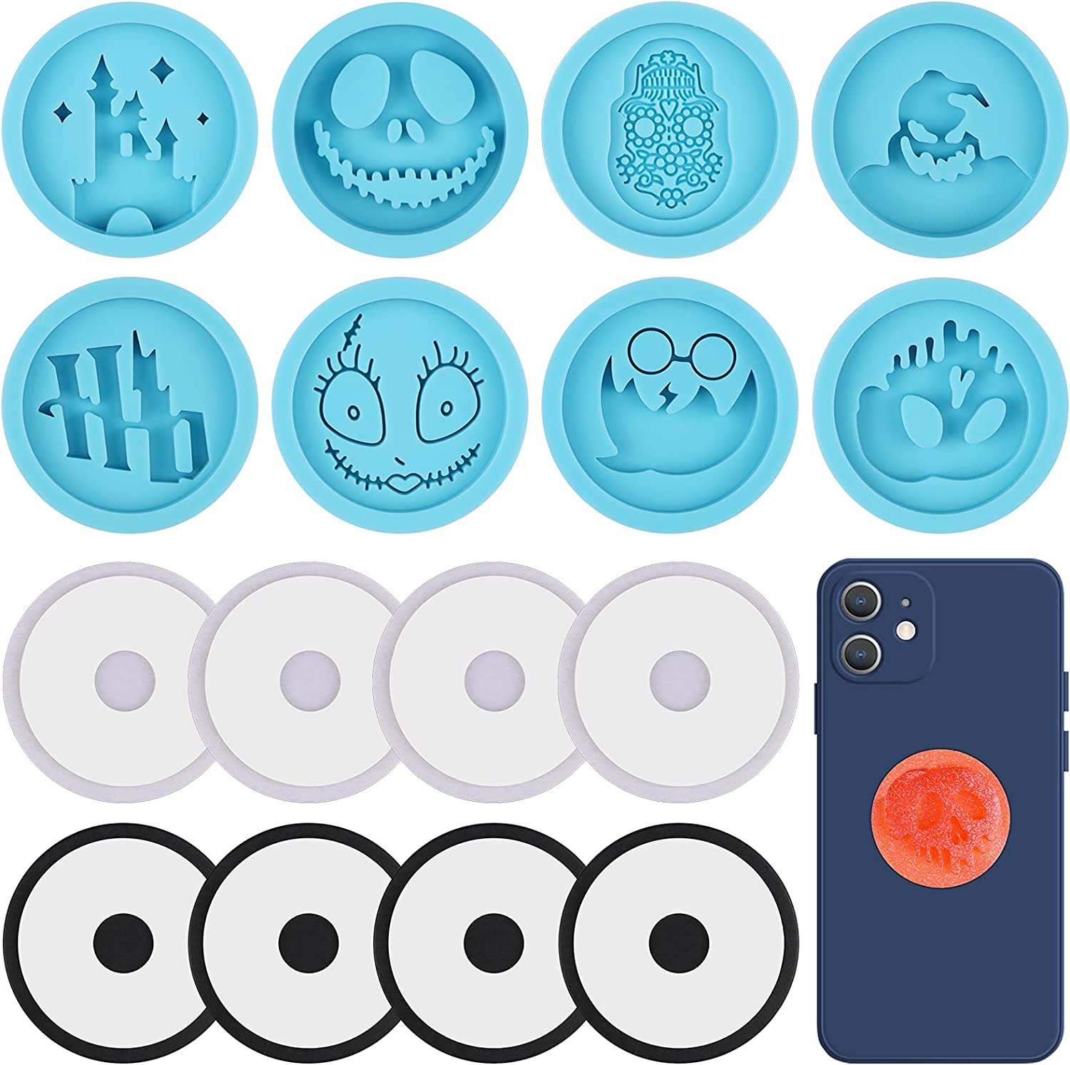 Lanstics 18 Pieces Halloween Phone Grip Mold, Circle Shaped Halloween Ghosts Monsters Pattern Cell Phone Grip Epoxy Resin Molds Silicone On Top Phone Holder Stand Molds for DIY Crafts