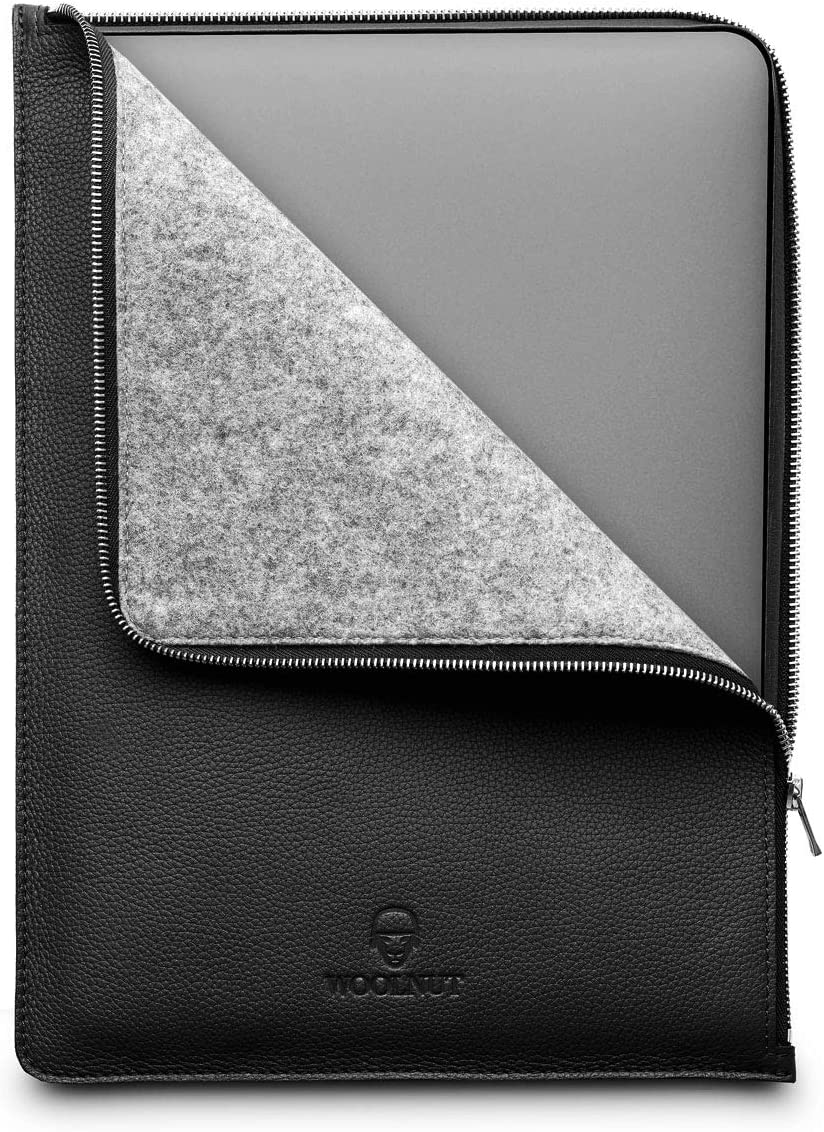 Woolnut Leather & Wool Folio Zipper Sleeve Case Cover, for Dell XPS 15 2020 (9500) and MacBook Pro 15 inch - Black