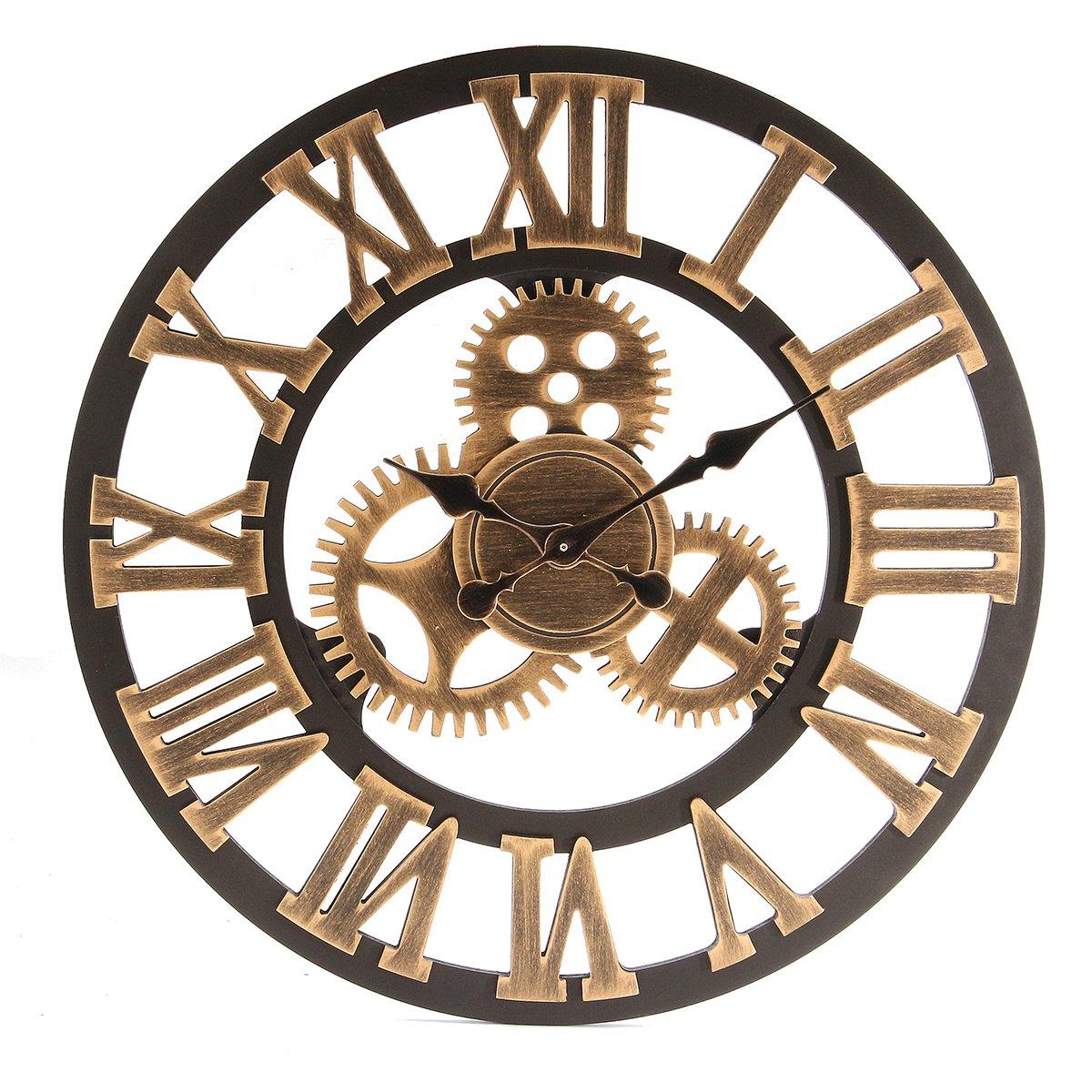 Jeteven 3D 60cm Horloge Pendule Murale en Bois Vintage Rétro Européenne Roue Dentée Argent JETEVENHOCORA768