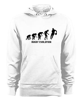 t-shirteria Sudadera con Capucha Rugby Evolution - Evolution - Rugby - Sport - Humor - de Algodón, Bianco, XXL: Amazon.es: Deportes y aire libre