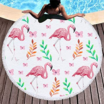 Amazon.com: Huhu Ma 5ft Flamingo Round Beach Blanket ...