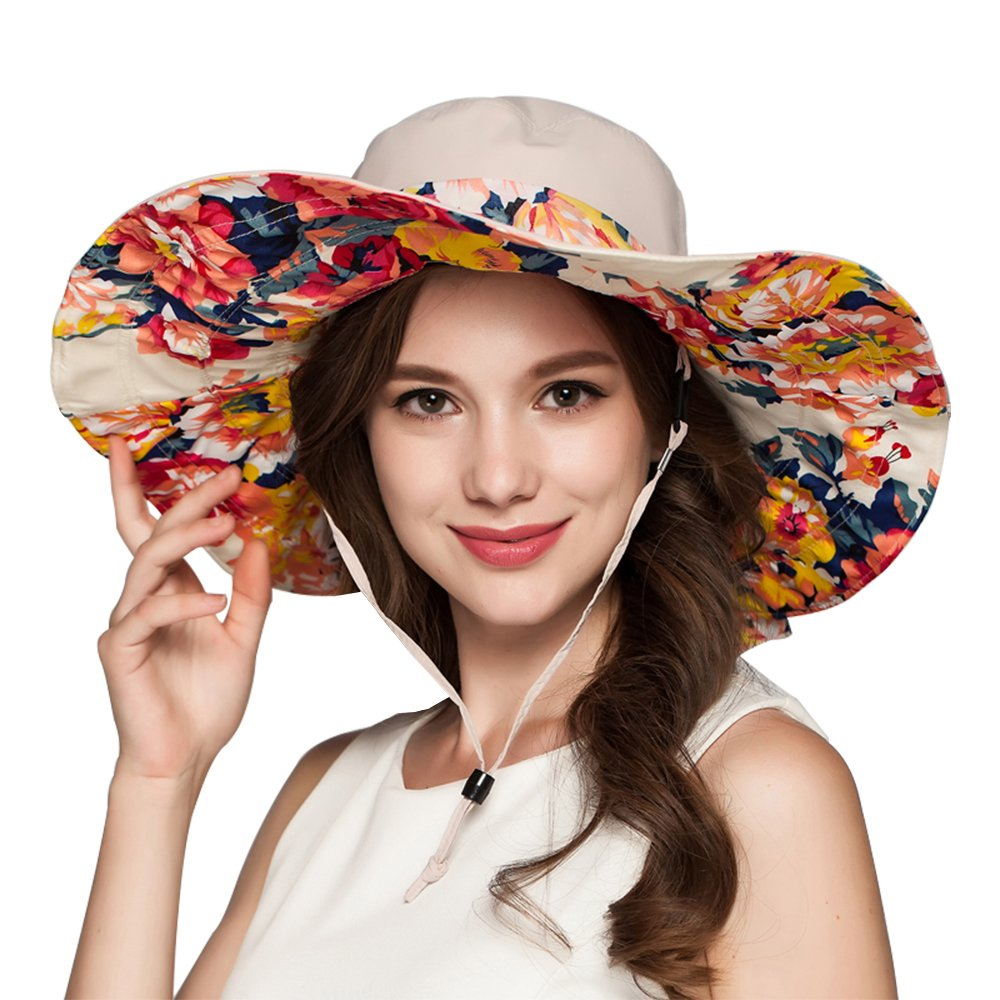 Amazon.com  Muryobao Summer Sun Hats UV Protection Extra Wide Brim Hat  Floral Reversible Foldable Bucket Cap for Women Beach Fishing Beige  Sports    ... ab20c6ddfcad