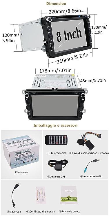 Android 6.0 WiFi Quad Core Modelo Autoradio GPS 2 DIN de 8 Pulgadas del Coche DVD Reproductor de CD para Volkswagen VW Passat del Polo B6 CC Tiguan Golf 5 ...