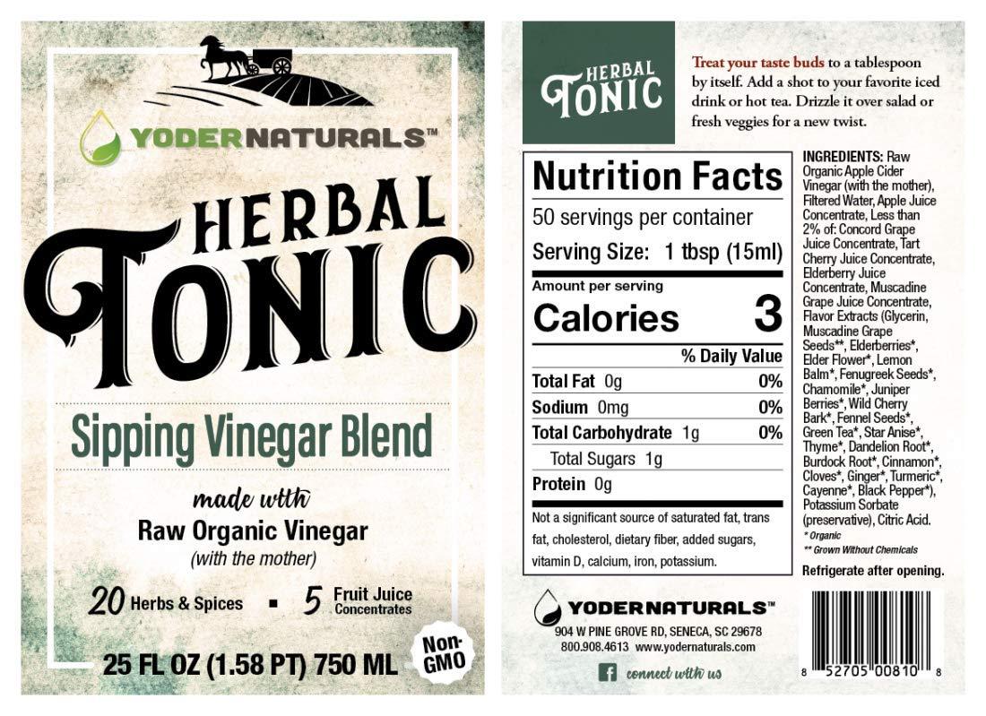 Yoder Naturals Apple Cider Vinegar Herbal Tonic Herb Infused Supplement 25 fl oz by Yoder Naturals