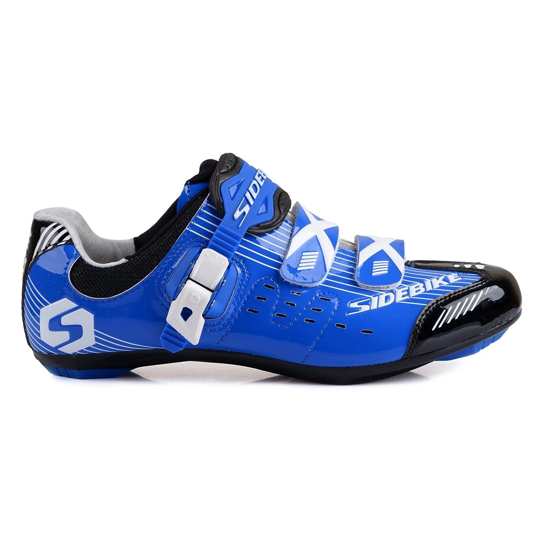 TXJ® Unisexo Zapatos de Bicicleta de Carretera (Elija un Tamaño Más Grande de lo Habitual) 45=Longitud del Zapato: 28.5cm|SD-003 Azul-Negro