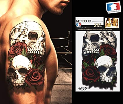 Tatouage Ephemere Temporaire Skull 2 Tetes De Mort Roses Horloge