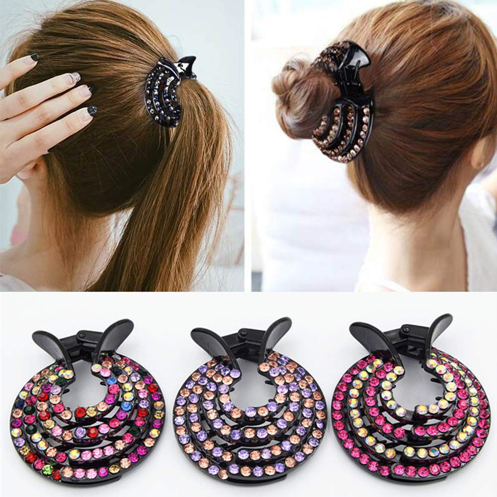 Multicolor display08 Fashion Women Nest Expanding Bling Rhinestone Hairpin Hair Claw Clip Bun Holder