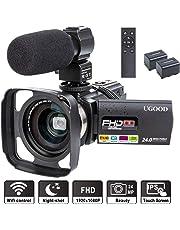 Videokamera UGOOD 1080P 24MP Full HD Camcorder mit Externem Mikrofon WiFi Fernbedienung Video Kamera mit IR Nachtsicht 16X Digitalzoom und 0.39X Weitwinkelobjektiv, 2 Akkus