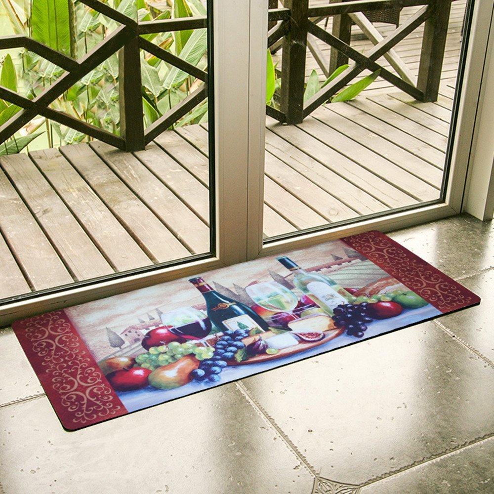 USTIDE Vintage Wine Pattern Area Rugs Waterproof Kitchen Floor Runner Non-Slip Laundry Rug