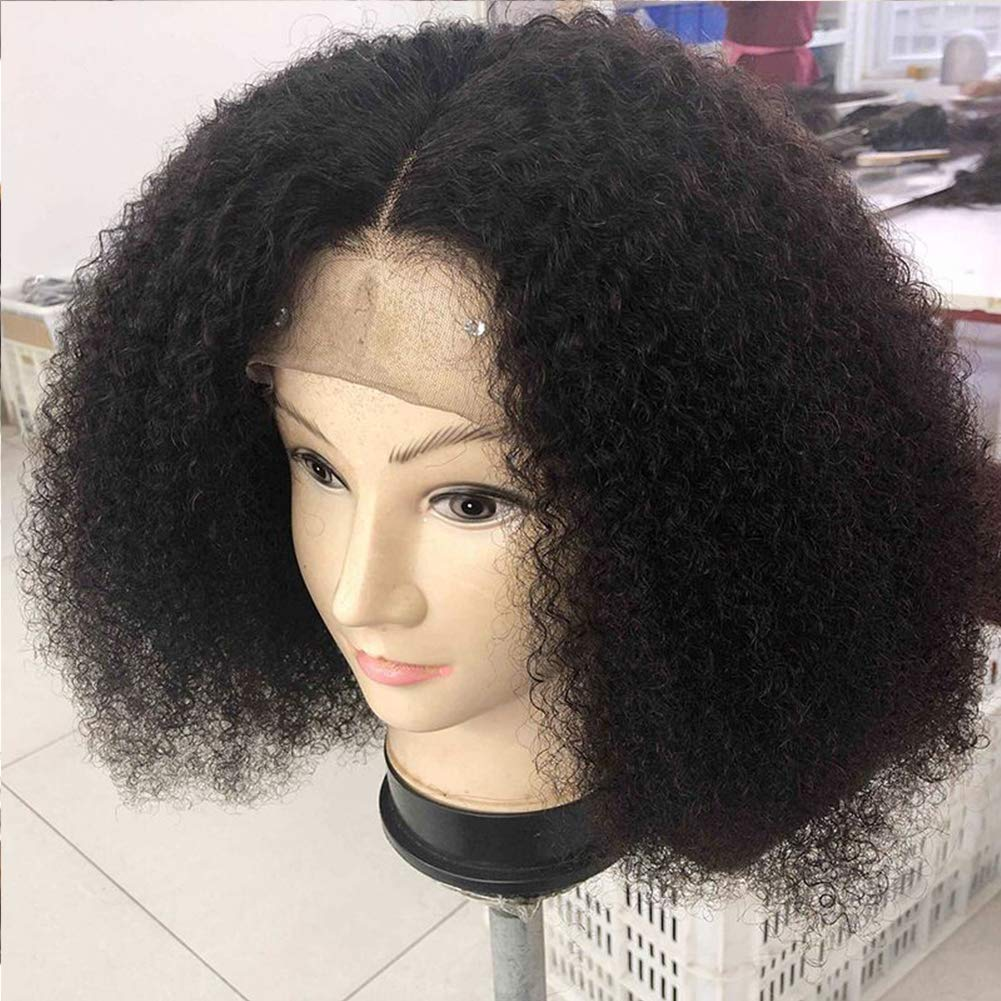 Mongolian Afro Kinky Curly 360 Lace Frontal Wig Pre Plucked With Baby Hair 4B 4C Curly 360 Full Lace Frontal Human Hair Wig For Women 150 Density Natural Black Color 16''inch by Beauty Youth (Image #5)