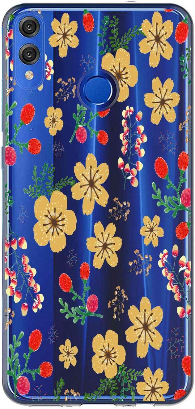 Oihxse Case Transparente Suave TPU Compatible con Huawei Y6 Prime 2018/Y6 2018 Funda [Lindo Caricatura Flor Serie Dibujos] Cristal Protector Carcasa Anti Rasguños Bumper Cover-Florales