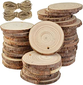Natural Wood Slices - Marrywindix 40 Pieces 2.0-2.4 Inches Craft Unfinished Wood Kit Predrilled with Hole Wooden Circles for Arts and Crafts Christmas Ornaments DIY Crafts