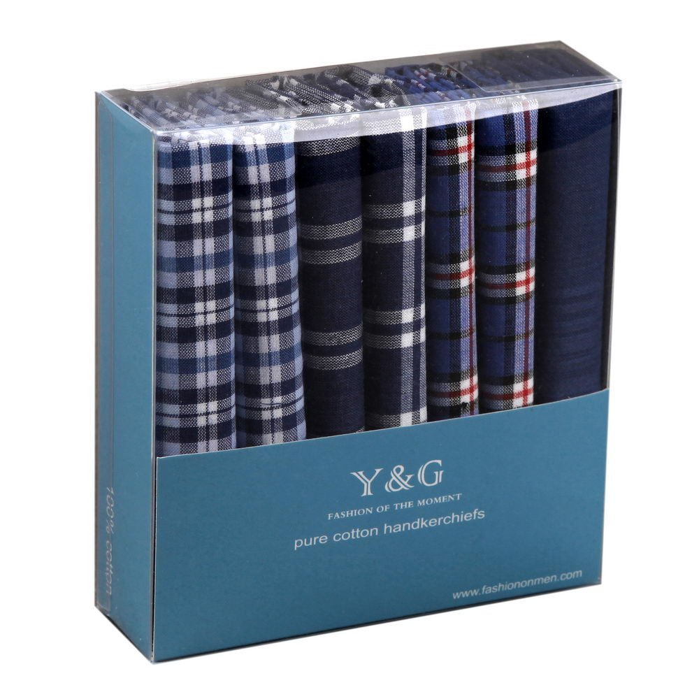 Box Of 7 Handkerchiefs Pure Cotton Hankies For Men with Presentation Box MH1021 One Size Blue