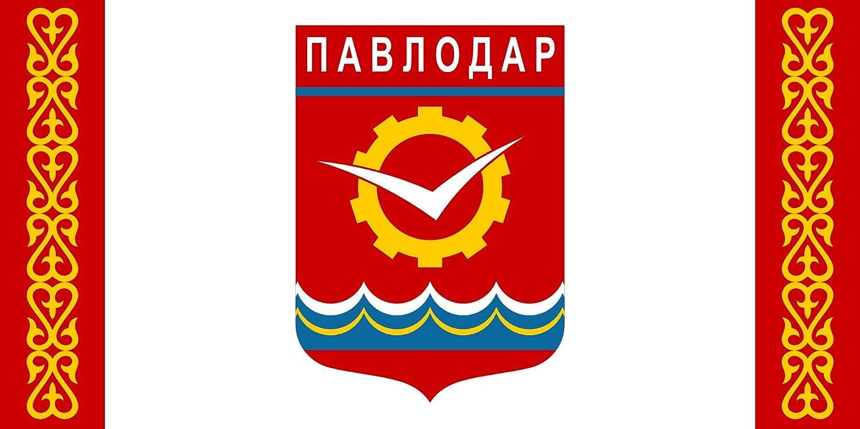 DIPLOMAT Flagge Pavlodar | Pavlodar, Kazakhstan | Querformat Fahne | 0.06m² | 17x34cm für Flags Autofahnen magFlags