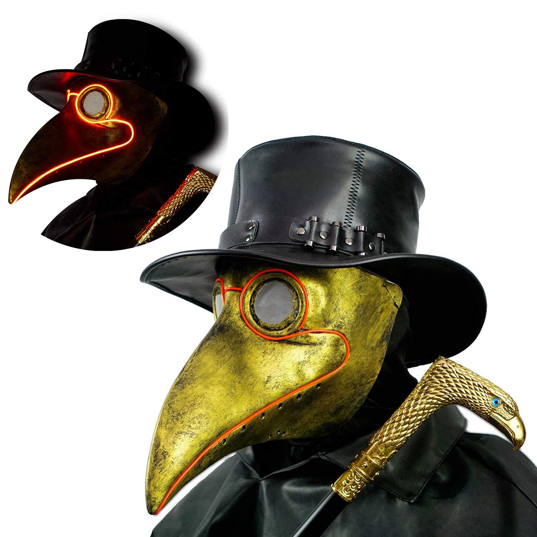PartyHop Bronze Plague Doctor Mask Light up, LED Brown Bird Beak Golden Steampunk Gas Costume