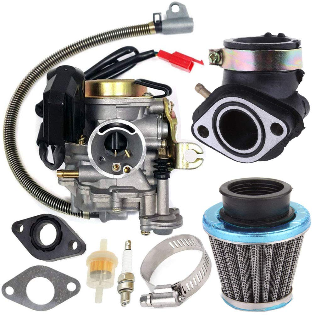 139QMB Carburetor for GY6 50CC 49CC 4 Stroke Scooter Taotao Engine 18mm carb+ Intake Manifold Air Filter by TOPEMAI by Auto parts