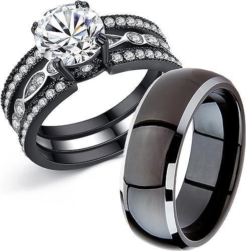 Amazon Com Mabella Couple Rings Black Men S Titanium Matching