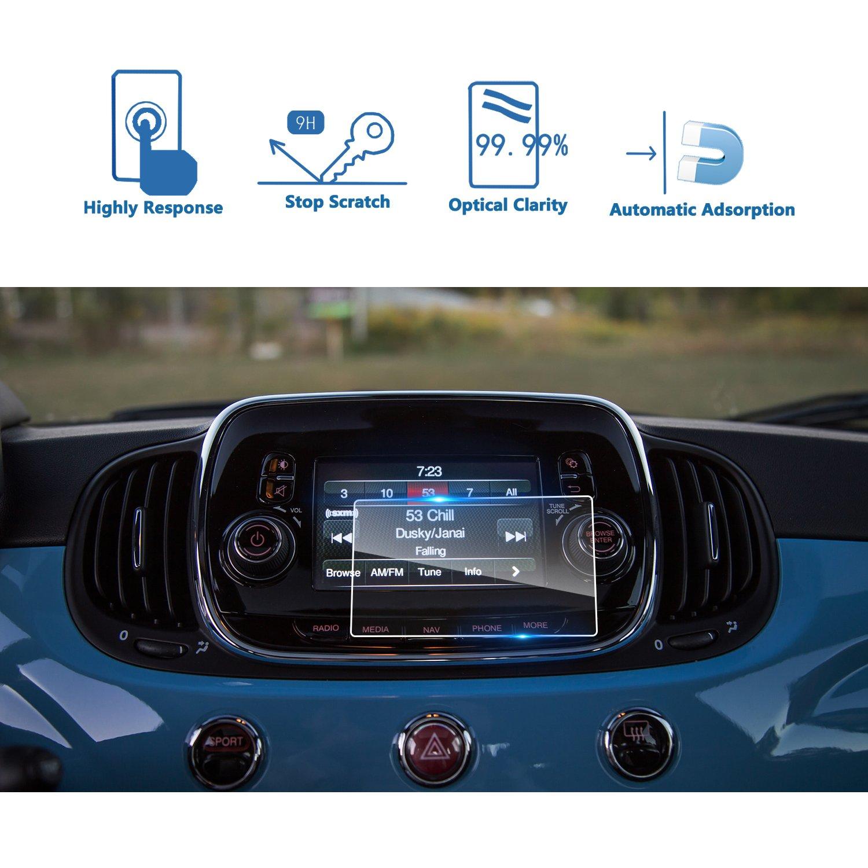 車ナビゲーション画面プロテクター、[ 9h ]強化ガラスInfotainmentセンタータッチスクリーンプロテクターAnti Scratch High Clarity クリア US01CMFT500X65 B0788YXBFS  20162018 FIAT 500X UConnect 5 Inch