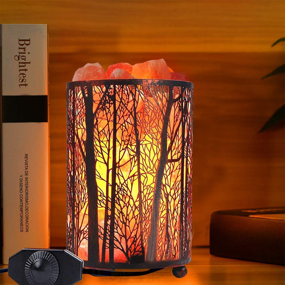 Salt Lamps, Natural Himalayan Salt Lamp, Forest Salt Lamp, Salt Night Lights, Salt Crystal Light with Retro Metal Basket Lamp and Extra 25W Lamp Bulbs by Shineled (Image #6)