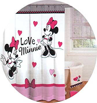 Disney Minnie Mouse Love Hearts de Salle de Bain Rideau de douche ...