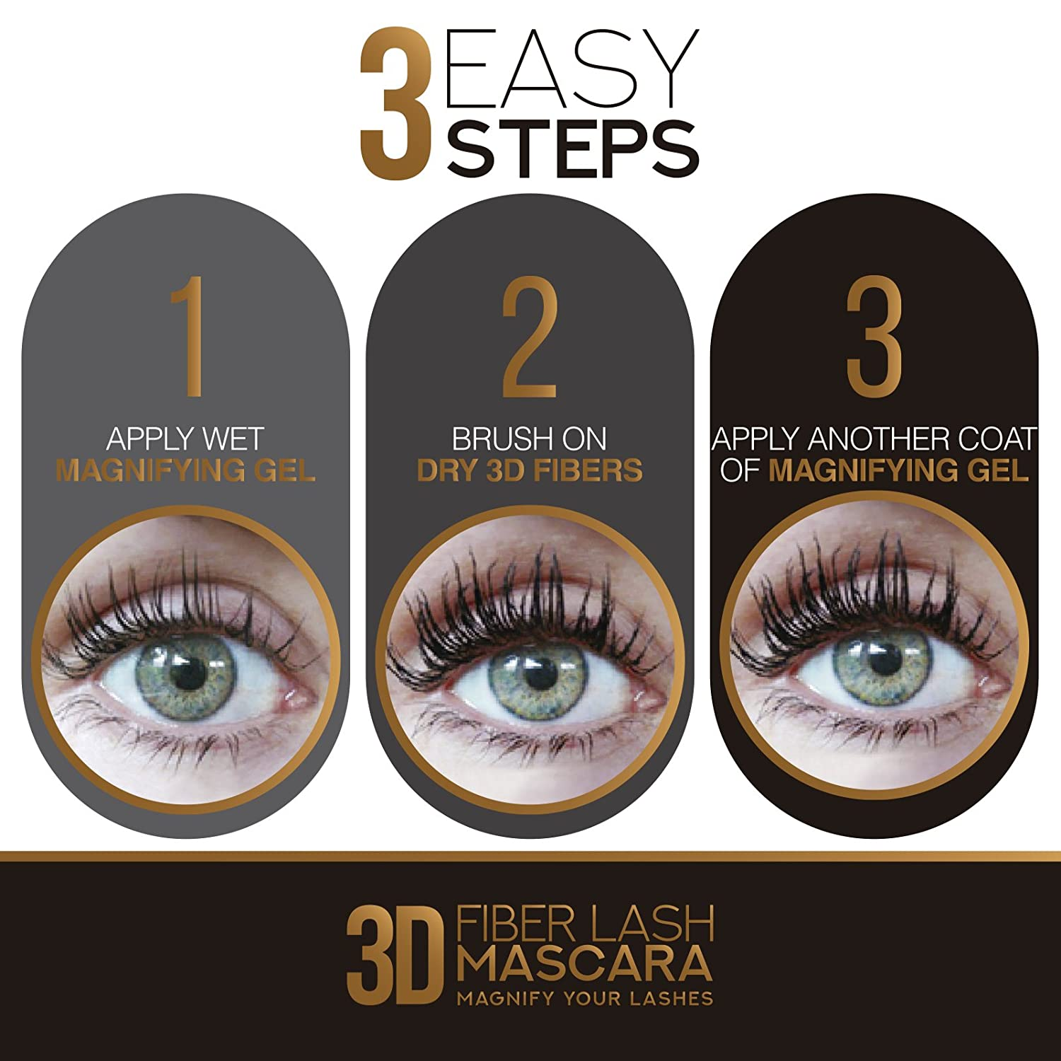 d107b88719b Amazon.com : 3D Fiber Lash Mascara - Best Rated for Voluminous Long Lashes  - Gives 4D Eyelash Extension Effect for Thickening & Lengthening -  Paraben-Free ...