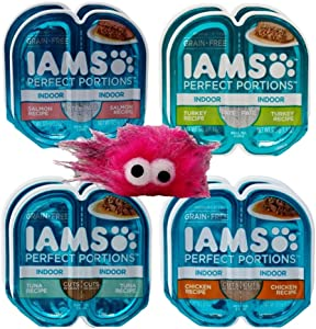 Iams Perfect Portions Grain Free Pate and Cuts in Gravy Indoor Cat Food 4 Flavor 8 Can Variety with Catnip Toy Bundle, (2) Each: Tuna, Chicken, Salmon, Turkey - 2.6 Ounces (8 Cans Total)