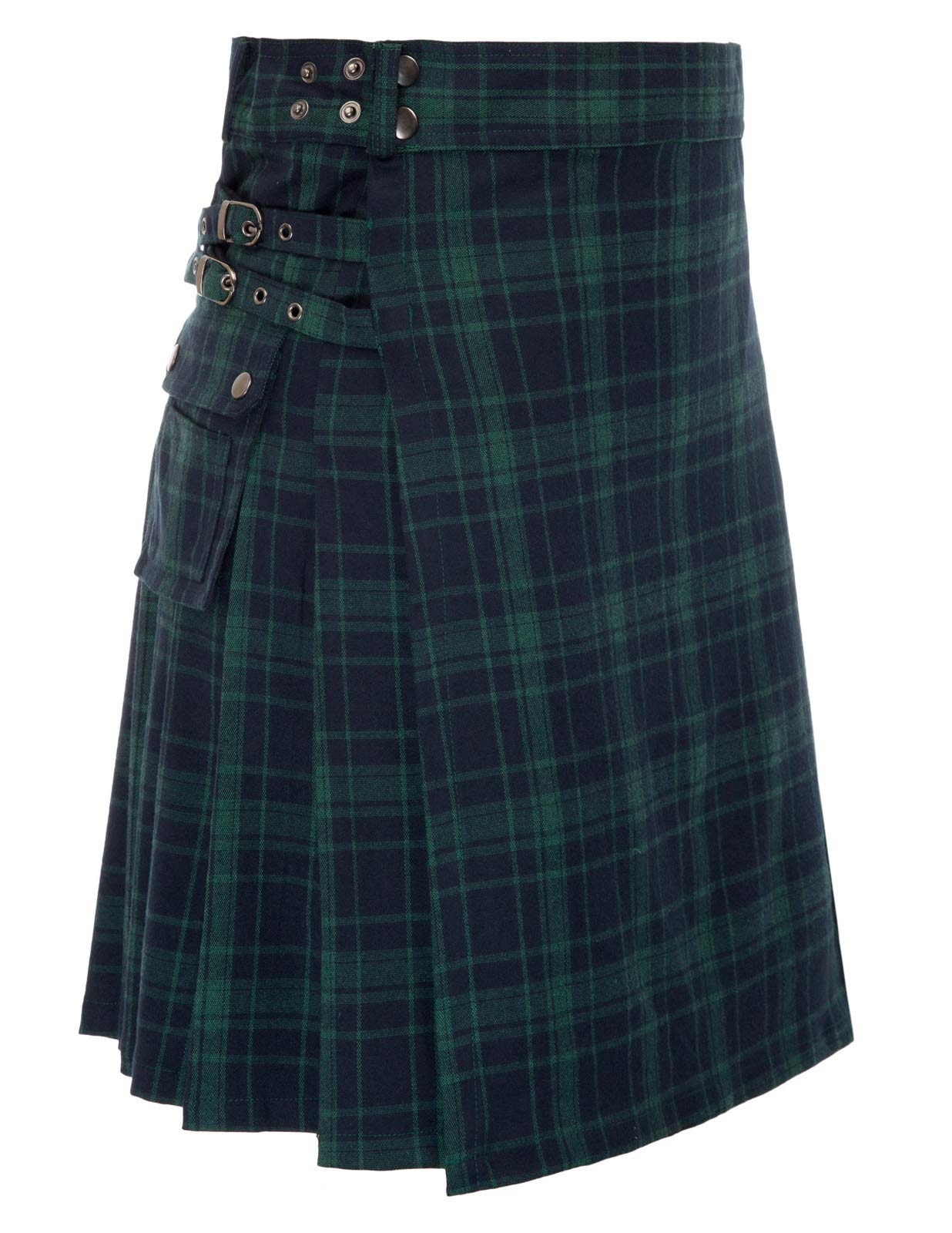 SCARLET DARKNESS Men's Scottish Highlander Tartan Utility Kilt Black Watch XL by SCARLET DARKNESS