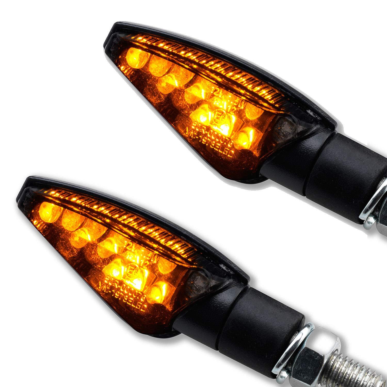Mini Universel LED clignotant Toledo Harley Honda de moto Noir Fum/é s/éch/és