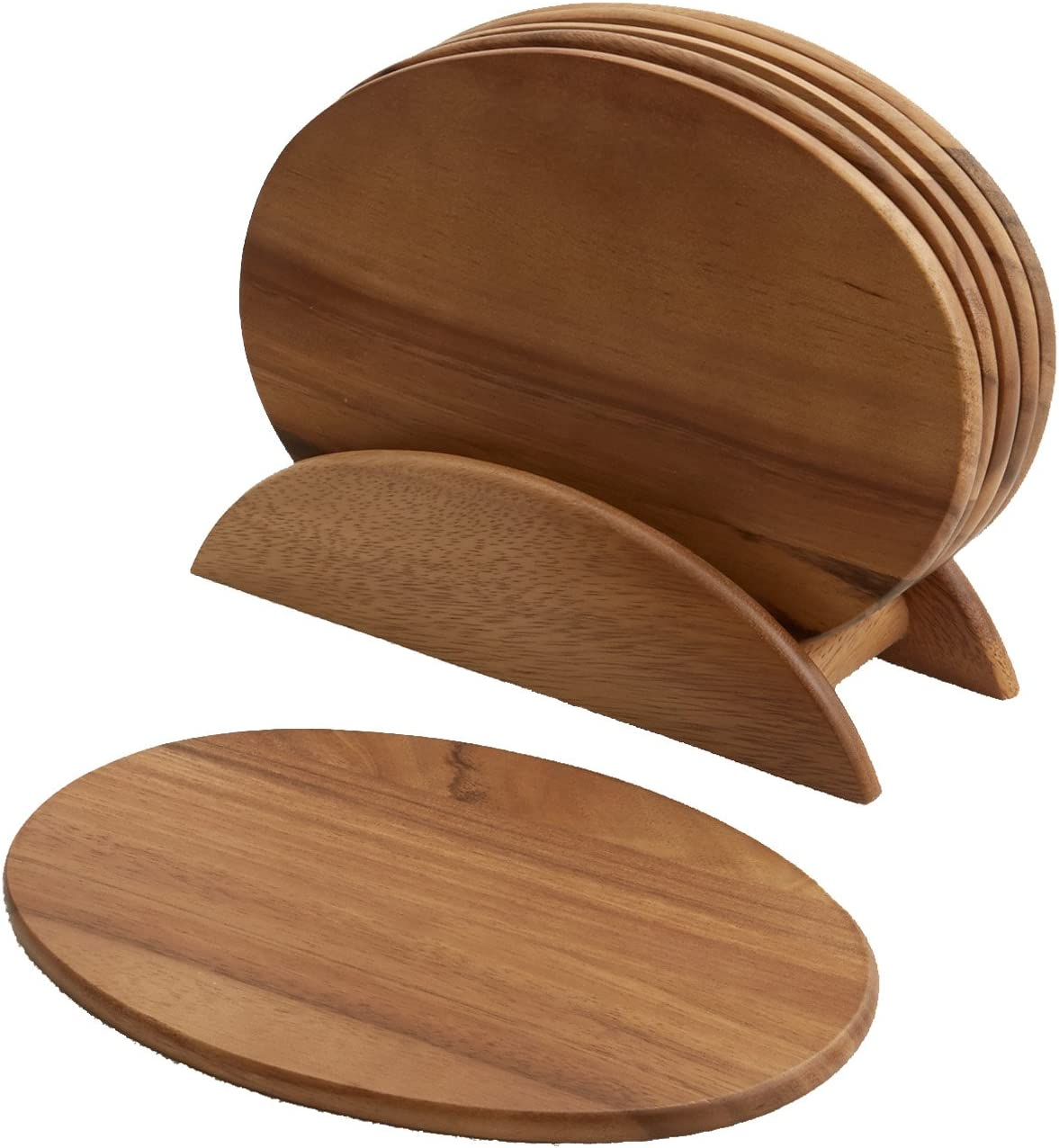 6 Acacia Wood Serving Boards with Stand, Perfect for Serving, Sushi, Cheese, Hors d'oeuvre, Charcuterie, Sandwiches by Woodard & Charles, 7 Piece Set, 9 1/2