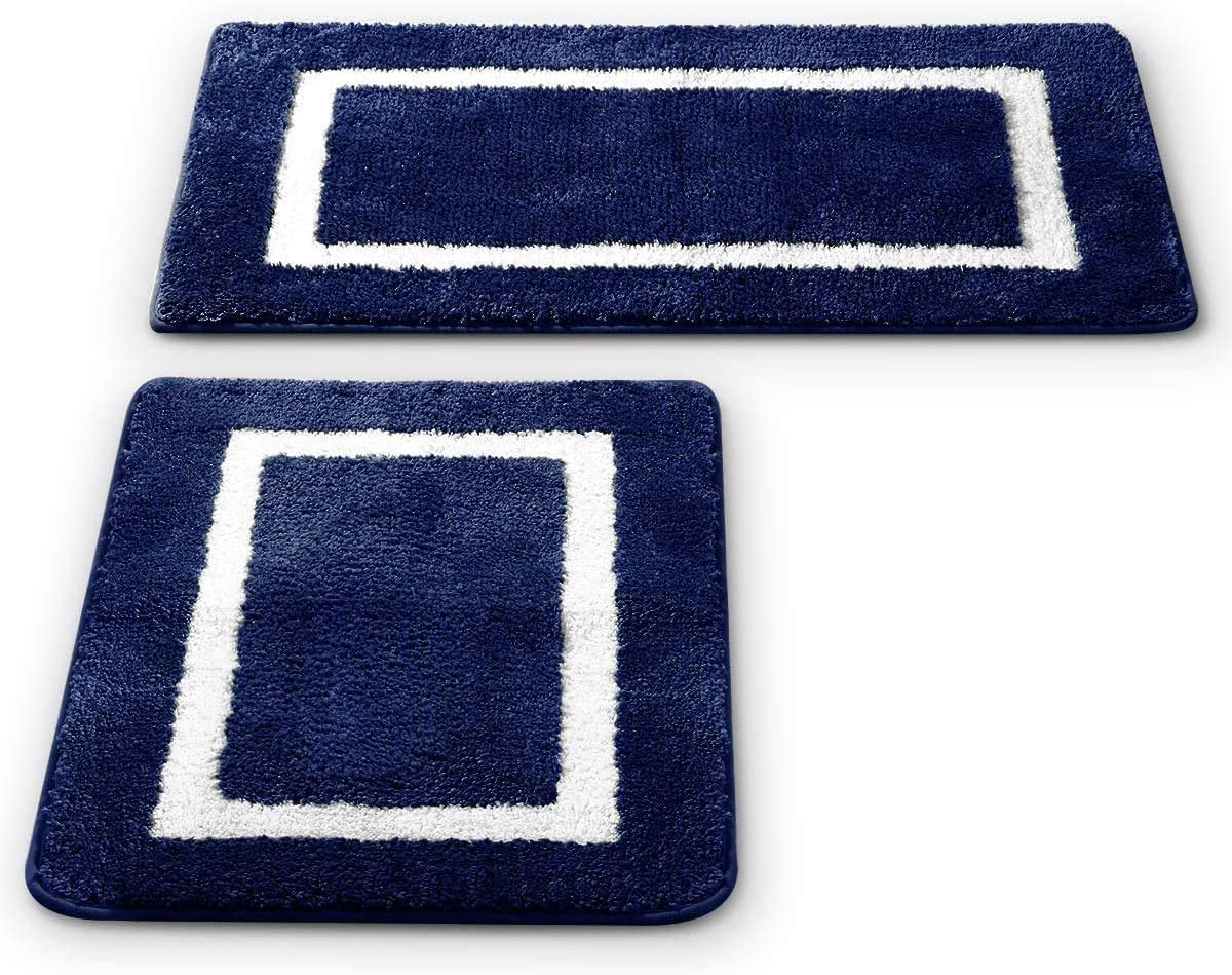 2 Pack Ultra Soft Microfiber Bath Mat, Anti Slip Bath Rug Set, Strong Absorbent, Machine Washable Shower Rugs, Perfect Plush Bathroom Mat for Tub, Shower and Bathroom (L+M, Navy/White)