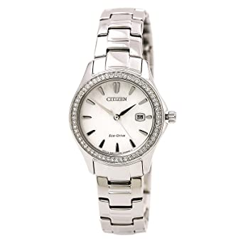 Amazon.com  Citizen Silhouette Crystal FE1140-86D Silver Women s Eco ... eba206b23e