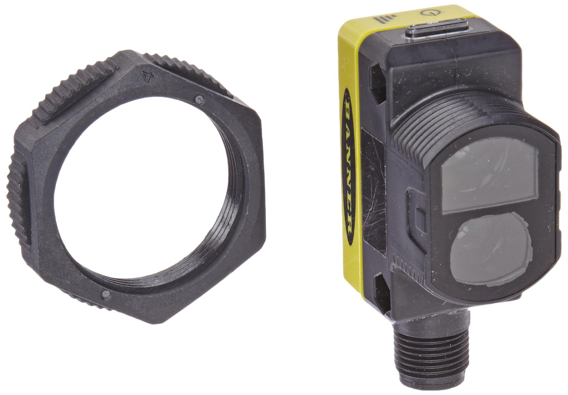 Banner QS30LPQ World Beam Universal Sensor, Polarized Retroreflective Sensing Mode, 5-pin Integral Euro-Style QD Connection, Visible Red LED, 10-30 VDC Supply Voltage, Bipolar (PNP and NPN) Output, 8 m Sensing Range
