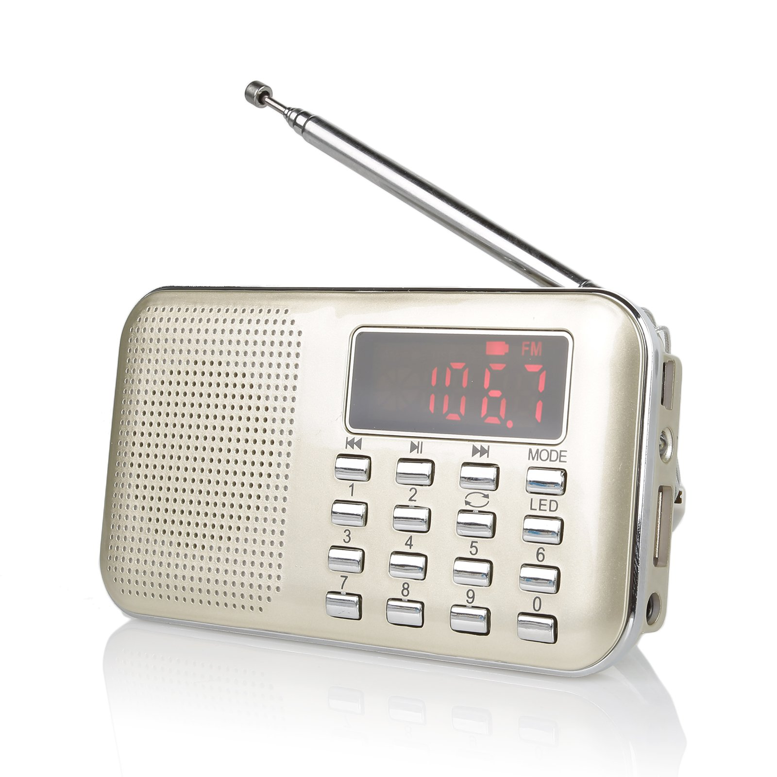 Radioddity RF23 Portable AM/FM Transistor Radio MP3 Music Player, Light and Ultra Thin, Support Micro TF Card USB, Flash Light (Gold)