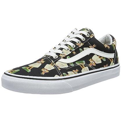 12545db920 Vans Unisex Old Skool Digi Hula Skate Shoes-Black True White-10-Women 8.5- Men