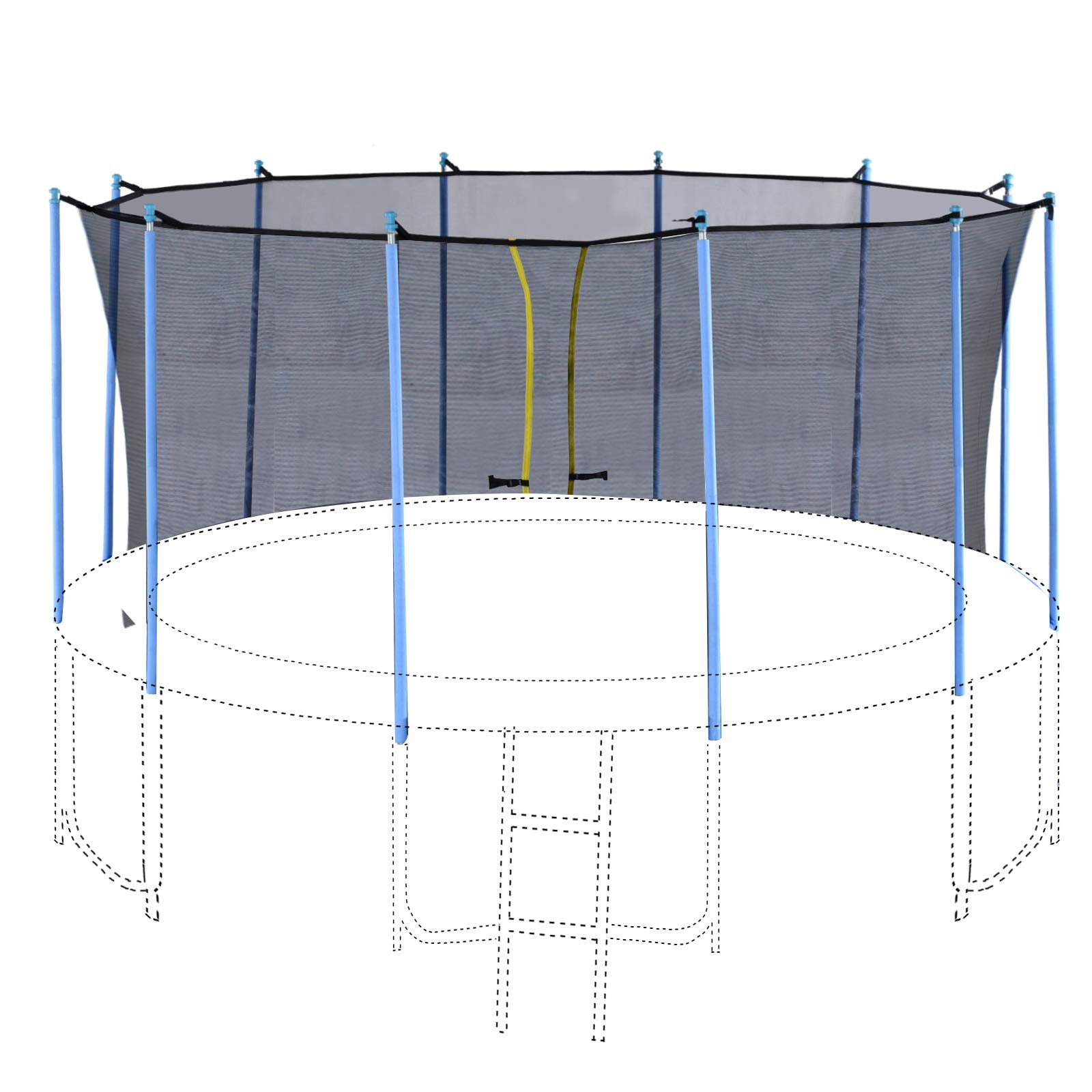 Exacme Enclosure Set Inner Safety Net with 12 Poles for 16 Foot C-Series Trampoline by Exacme